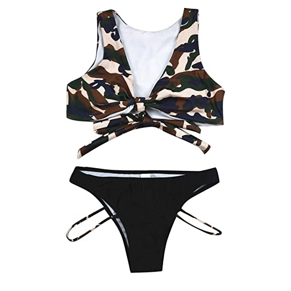 Amazon.com: Bikini para mujer, diseño de nudo delantero, de ...