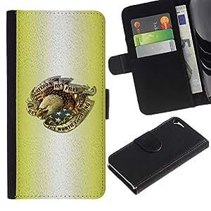 Planetar® Modelo colorido cuero carpeta tirón caso cubierta piel Holster Funda protección Para Apple iPhone 5 / iPhone 5S ( Tinta del tatuaje de Eagle del patriota de los EEUU de América )