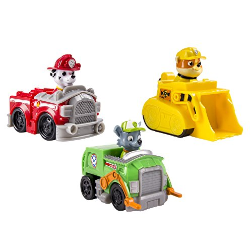 Nickelodeon, Paw Patrol – Rescue Racers 3pk Vehicle Set Marshal Rubble, Rocky image