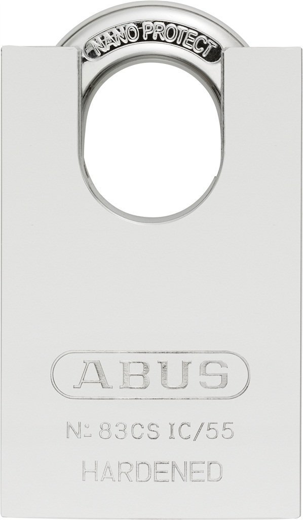 ABUS 83CS-IC/55 S2 SFIC Small Format Interchangeable Core Solid Steel Chrome Plated Rekeyable Padlock w/o core with 1.5 Inch Closed Shackle