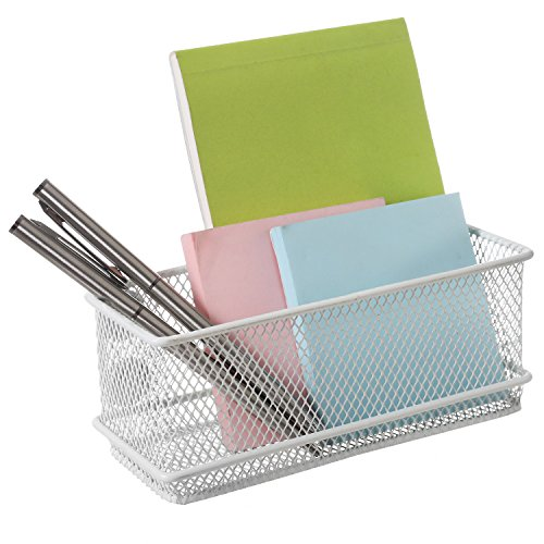 MyGift Modern Wire Mesh Magnetic Basket Storage Tray, Office Whiteboard Supply Organizer, White ()