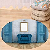 VROSELV Custom carpetAntique Decor Empty Room With Two Doors Armchair And Simple Mirror With Golden Color Frame Bedroom Living Room Dorm Decor Round 72 inches