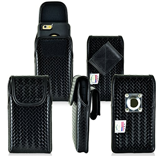 Law Enforcement Rugged Police Basketweave Genuine Leather Vertical Duty Belt Case with hook and loop closure fits Samsung Galaxy s5 with a Ballistic Tough Jacket on it. - Basketweave Jacket