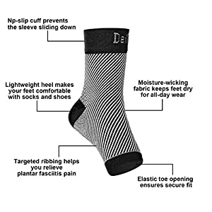Plantar Fasciitis Socks (3 Pairs), Deilin Compression Foot Sleeves with Heel Arch & Ankle Support, Great Foot Care Compression Sleeve for Men & Women, Increase Blood Circulation, Relieve Arch Pain