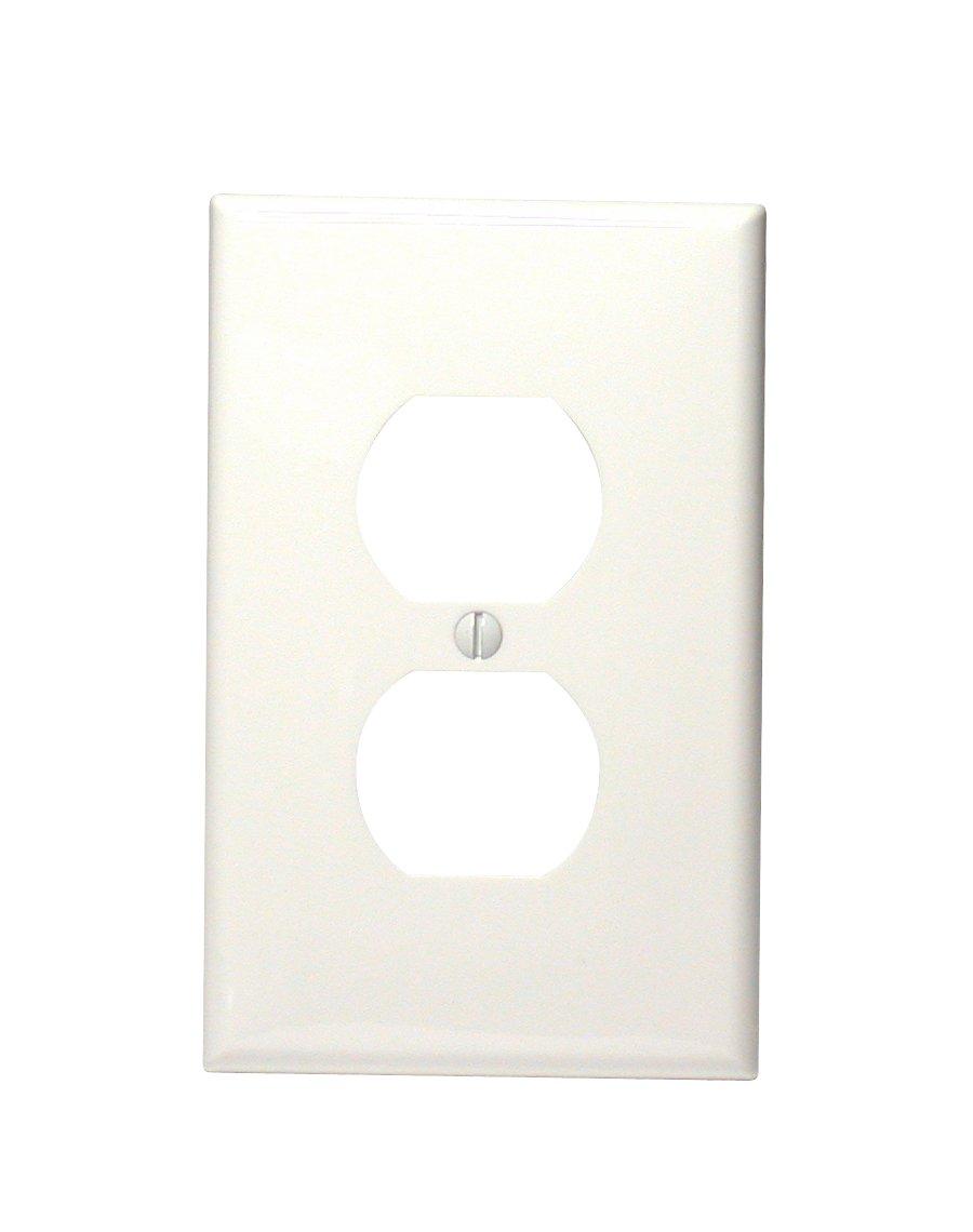 Midway Size White Leviton PJ8-W 1-Gang Duplex Device Receptacle Wallplate Thermoplastic Nylon Device Mount