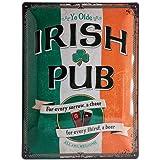 Nostalgic Art 23226 Open Bar Irish Pub, Metal Tin Sign Multi-Coloured 30 cm x 40 cm (na)