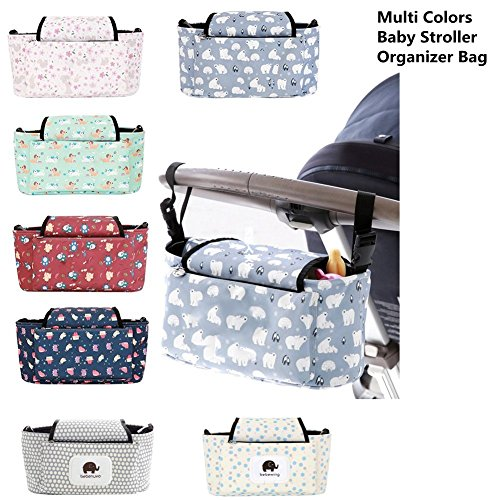 Grey Buggy Organiser Storage Bag with Concise Design and Multifunctional Compartment Buggy Pram Bag Organiser//Stroller Organiser 2 x Pram Hooks Waterproof Feature