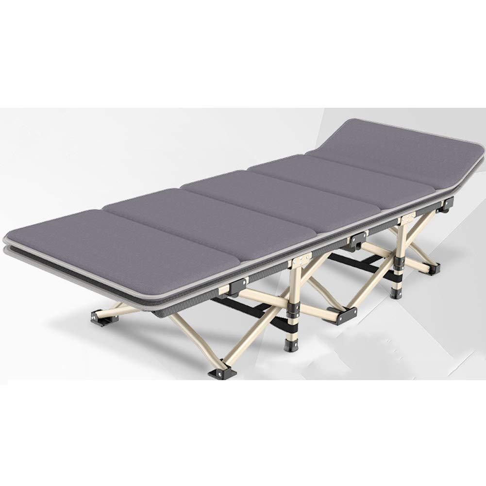Klappbett Ruitx Falten Camping Bett für Erwachsene Portable Sleeping Cot Bett für Office Home Nap Bold Pipe mit kostenlosem Lagetag,grau