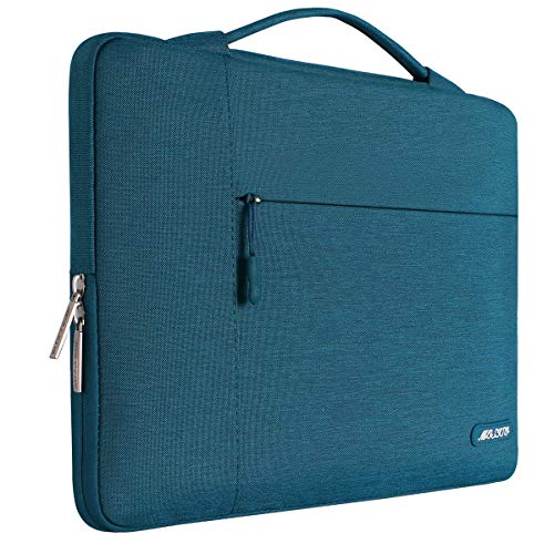 MOSISO Laptop Briefcase Handbag Compatible 13-13.3 Inch MacBook Air, MacBook Pro, Notebook Computer, Polyester Multifunctional Carrying Sleeve Case Cover Bag, Deep Teal