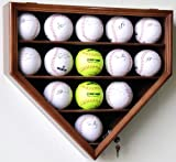 14 Softball Display Case Cabinet Wall Rack Home Plate Shaped w/ UV protection -Walnut