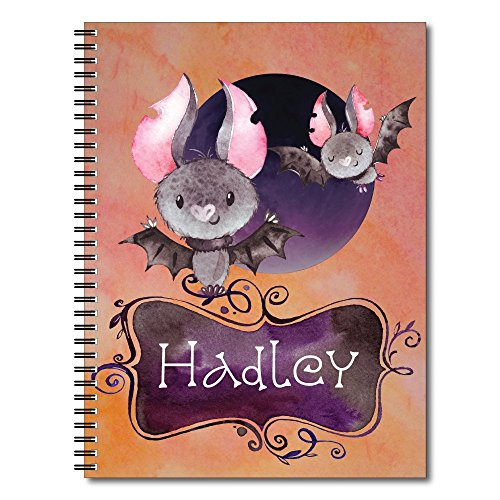 Fly in the Moonlight Personalized Halloween Children's Spiral Notebook / Journal, 120 Wide Ruled or Sketch Pages, durable laminated cover, and wire-o spiral. 8.5x11 | 5.5x8.5 | Made in the USA -