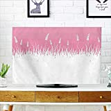 Leighhome Television Protector Pink Field Life Inspired Scene Cut into Half with Bushes Television Protector W20 x H40 INCH/TV 40'-43'