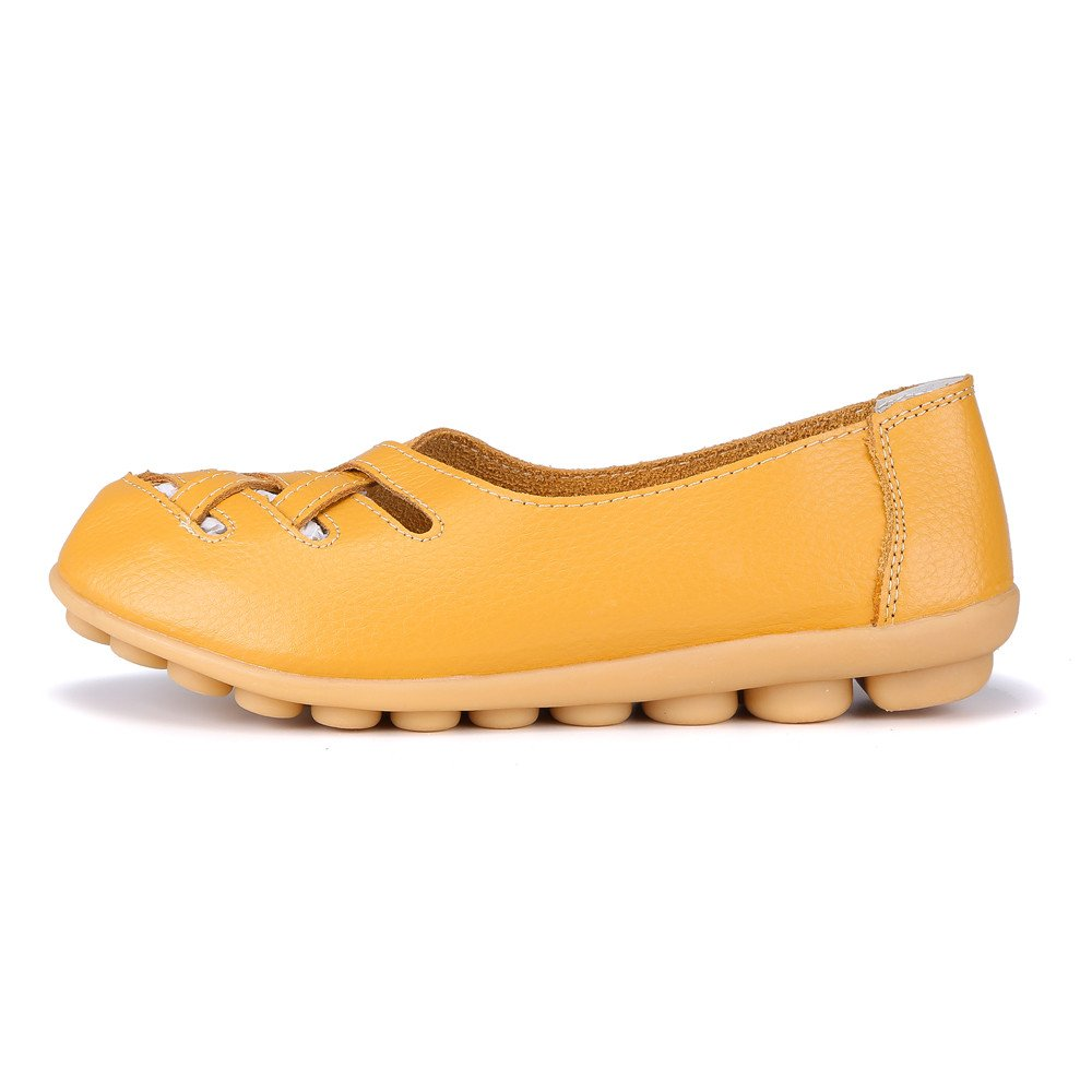 MXTGRUU Women's Casual Comfortable Walking Shoes with Criss Cross B07DJBGSCQ 9 B(M) US|Yellow