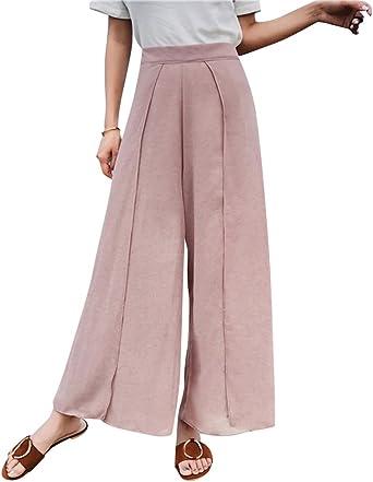 Mujer Elegante Pantalon Palazzo Suelto Pantalones Anchos Talle Alto Pink Amazon Es Ropa Y Accesorios