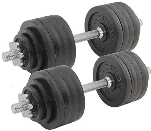 Pair Adjustable Cast Iron Dumbbells Weight 105lb Total Titan Fitness Training by Titan Fitness