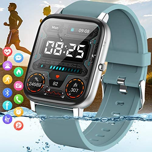 "Amokeoo Smart Watch,Fitness Watch Tracker with Heart Rate Blood Pressure Monitor IP67 Waterproof Bluetooth Smartwatch 1.69"" Large Screen Sports Smart Watches for Android iOS Phones Men Women Blue"