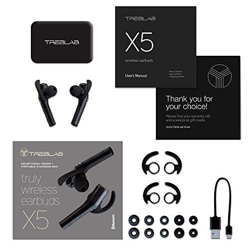510K5I z0TL - Treblab X5 - Advanced Bluetooth Headphones w/Beryllium Speakers, Truly Incredible 3D Sound, Best Sports & Running True Wireless Earbuds, Noise Cancelling Microphone, Siri, Extended Battery 2018 Model