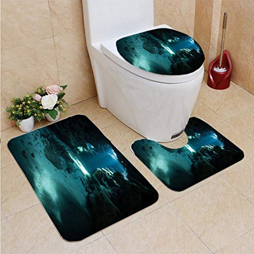 3 Sets of Bathroom Home, Bathroom Carpet + Contour pad + lid Toilet seat,Light and Shadows in Underwater Cave, Flannel Carpet ()