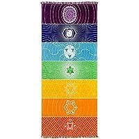 Myonly Mandala Tapestry Arco Iris Yoga Mat- Arco Iris para el Chakra Borla de Rayas Alfombra Yoga Toallas de Playa Manta