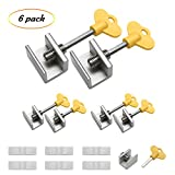 6 Pieces Adjustable Sliding Screen Window Locks Stop Aluminum Alloy Door Frame Security Lock with Keys No Tools Needed