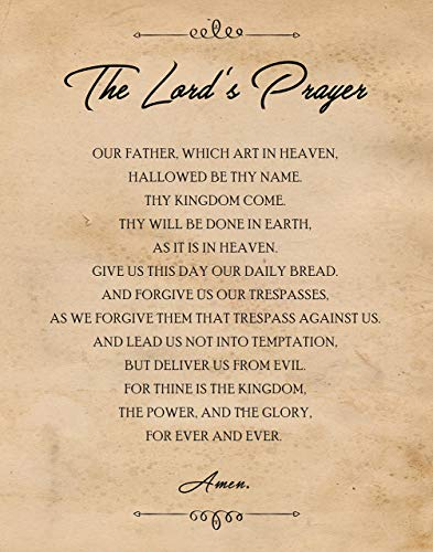 Original The Lord's Prayer Quote Poster Print- Set of 1 (One 11x14) Unframed Picture- Great Wall Art Decor Gift for Home, Office, Garage, Man Cave, School, Church, Teacher, Mentor, Coach