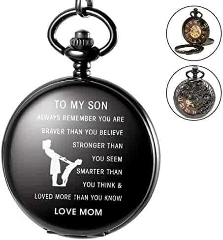 SIBOSUN Personalized Pocket Watch Engraved Back Case Sleleton Mechanical MOM to Son Gift Birthday Graduation