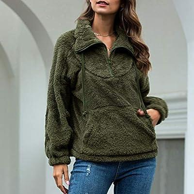 Sttech1 Women's Coat Casual Lapel Fleece Fuzzy Faux Shearling Jackets Half Zipper Warm Winter Pullover Outwears: Clothing