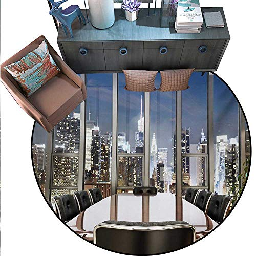 Modern Round Rug Kid Carpet Business Office Conference Room Table Chairs City View at Dusk Realistic Photo Circle Rugs Living Room (55