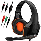 Gaming Headset,DLAND 3.5mm Wired Bass Stereo Noise Isolation Gaming Headphones with Mic for Laptop Computer, Cellphone, PS4 and so on- Volume Control ( Black and Orange )