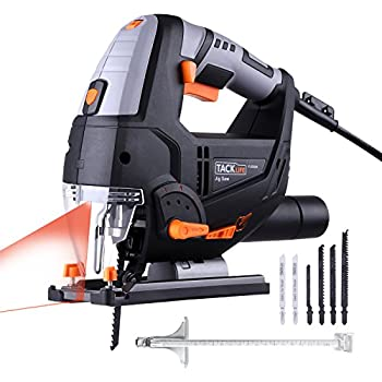 Tacklife PJS02A 6.7-Amp Laser Jig Saw with LED 800~3000rpm Adjustable Speed Includes Carrying Case,6pcs Jigsaw Blades,Metal Guide Ruler,Dust Exhaust Pipe and Allen Wrench,Stable Aluminum Base