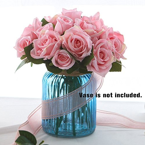Artificial Silk Rose Flowers 9 Stems Fake Rose Bunch Roses Bridal Bouquet for Wedding Home Party DIY Decoration (Pink)