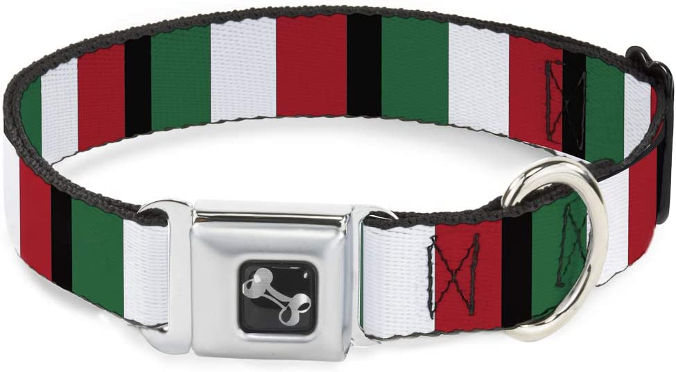 Buckle Down Italia Banderas Hueso Collar de Perro, mediano/11 – 17