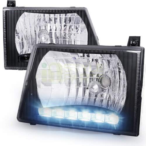 Spec-D Tuning LH-ECON92JM-RS Black Headlight (Euro Housing With Led) ()