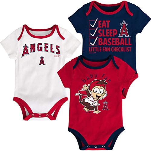 Outerstuff MLB Newborn Infants Play Ball 3 Piece Creeper Body Suit (12 Months, Los Angeles Angels)