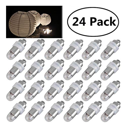 Jofan 24pcs Warm White Mini Lights Paper Lantern Lights LED Balloon Lights for Floral Party Wedding Decoration (Waterproof and -