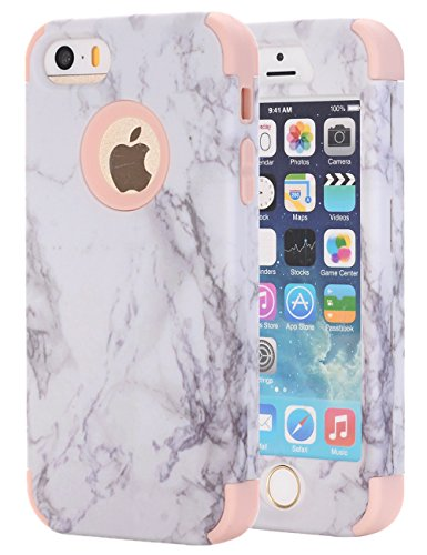 Double Marble - iPhone 5S Case, iPhone 5 Case,iPhone SE Case, KAMII White Marble Stone Pattern Shockproof 2in1 Dual Layer TPU Bumper Hard PC Hybrid Defender Armor Case Cover for Apple iPhone 5 5S SE (Rose Gold)