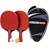 Table Tennis Ping Pong Professional Racket Paddle Set, 3 Star Balls and Organizing Carry Case By Clinch Star