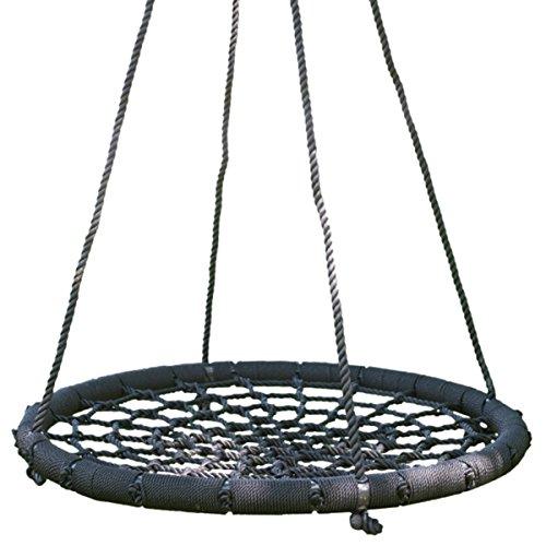 DXP Nestschaukel Tellerschaukel 90CM Schaukel Rundschaukel Kinderschaukel Schaukelsitz für Kinder und Erwachsene Schwarz 200kg EDY01