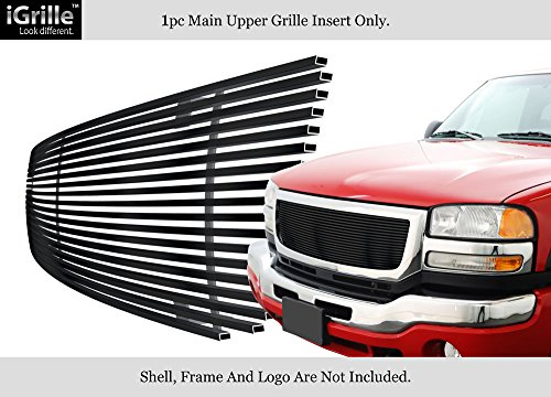 Gmc Classic Billet Grille - APS Compatible with 2003-2007 GMC Sierra 1500 2500HD 3500 Black Stainless Steel Billet Grille G85371J
