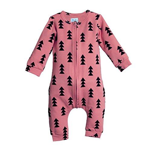 Fox Infant Creeper (Mark's Blue Fox Baby Boys & Girls Sleep & Play Romper Coverall Bodysuit | For Infants & Toddlers (M (3-6m), Pink))