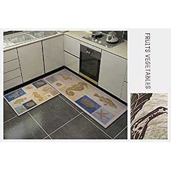 "Lyfreen 2 Pieces Non-Slip Area Rug Water Resistant Bathroom Rug 15.7""x23.6""+15.7""x47.2"" Machine Washable Kitchen Mat Kitchen Rug Extra Soft Runner Rug Living Room Rug"