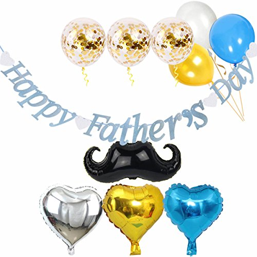 Day Decorations Fathers (ZSNICE Happy Father's Day Decorations Glitter Blue Banner, 3X12inch Gold Confetti Balloons, 1X25inch moustache, 3X18inch Heart Balloons, 3X12inch Shiny Balloon,1 Mini Pump, Party Bunting Banner)