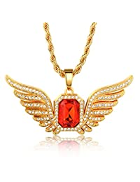 """Halukakah """"RUBY KINGDOM"""" 18k Real Gold Plated Gemstone Wing Pendant Necklace with FREE Rope Chain 30"""""""