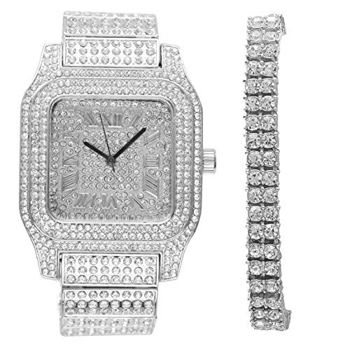 Bling-ed Out Biggie Sq. Silver Hip Hop Watch w/ 2 Row Tennis Bracelet - You Will Hypnotize in a Flashy Way - 0513B 2RT Silver
