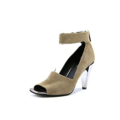Kenneth Cole Reaction Womens Peep Rise Suede Open Toe Ankle Taupe Size 9.5