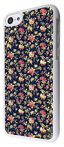 563 - Cute Vintage shabby Chic Floral Roses Navy Design iphone 5C Coque Fashion Trend Case Coque Protection Cover plastique et métal - Blanc