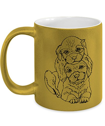Cute Labrador Mug in Metallic Gold - 11oz Labrador Cup - Labrador Gifts - Labrador Puppies Coffee Mug