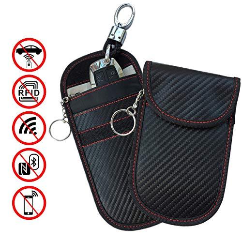 Key Fob Protector Rfid Blocking Bag, HALOViE Car Key Signal Blocking Pouch Bag, Anti-theft Key Protector Device WIFI/GSM/LTE/NFC/RF Blocker (2 Pack)