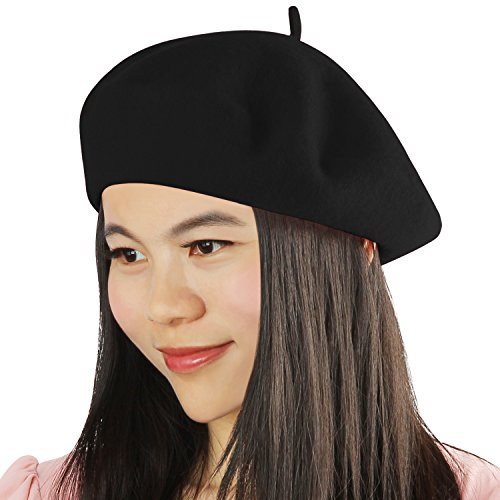 Acecharming Womens French Style Beret Wool Beanie Hat Cap(Thin, Black)