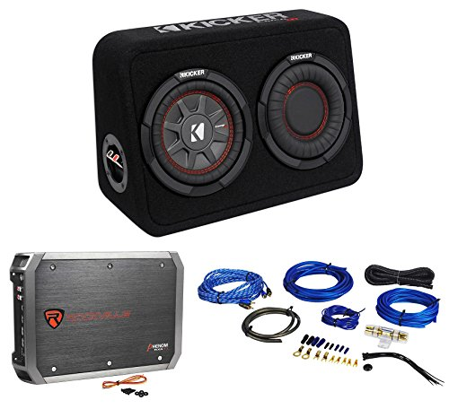 Kicker 43TCWRT674 CompRT 6.75 300w Shallow Subwoofer+Sub Box+2-Ch Amp+Wire (1500w Shallow Subwoofer)